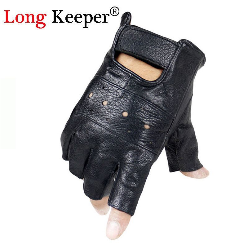 Long Keeper Men Genuine Leather Gloves Half Finger Sheep Leather Fingerless  Gloves Climbing Anti Skid Fitness Workout Training 2140844d9a8