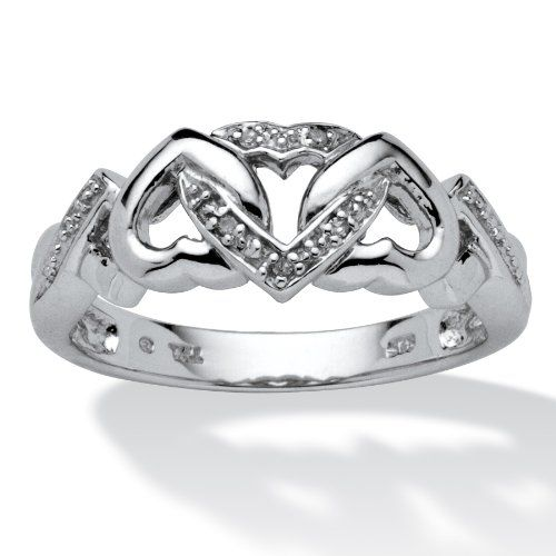 PalmBeach Jewelry Diamond Accent Platinum over Sterling Silver Interlocking Hearts Promise Ring $59.99