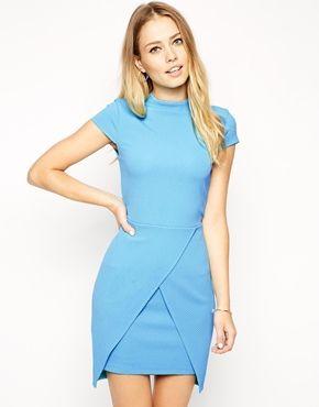ASOS Textured High Neck Assymetric Mini Dress