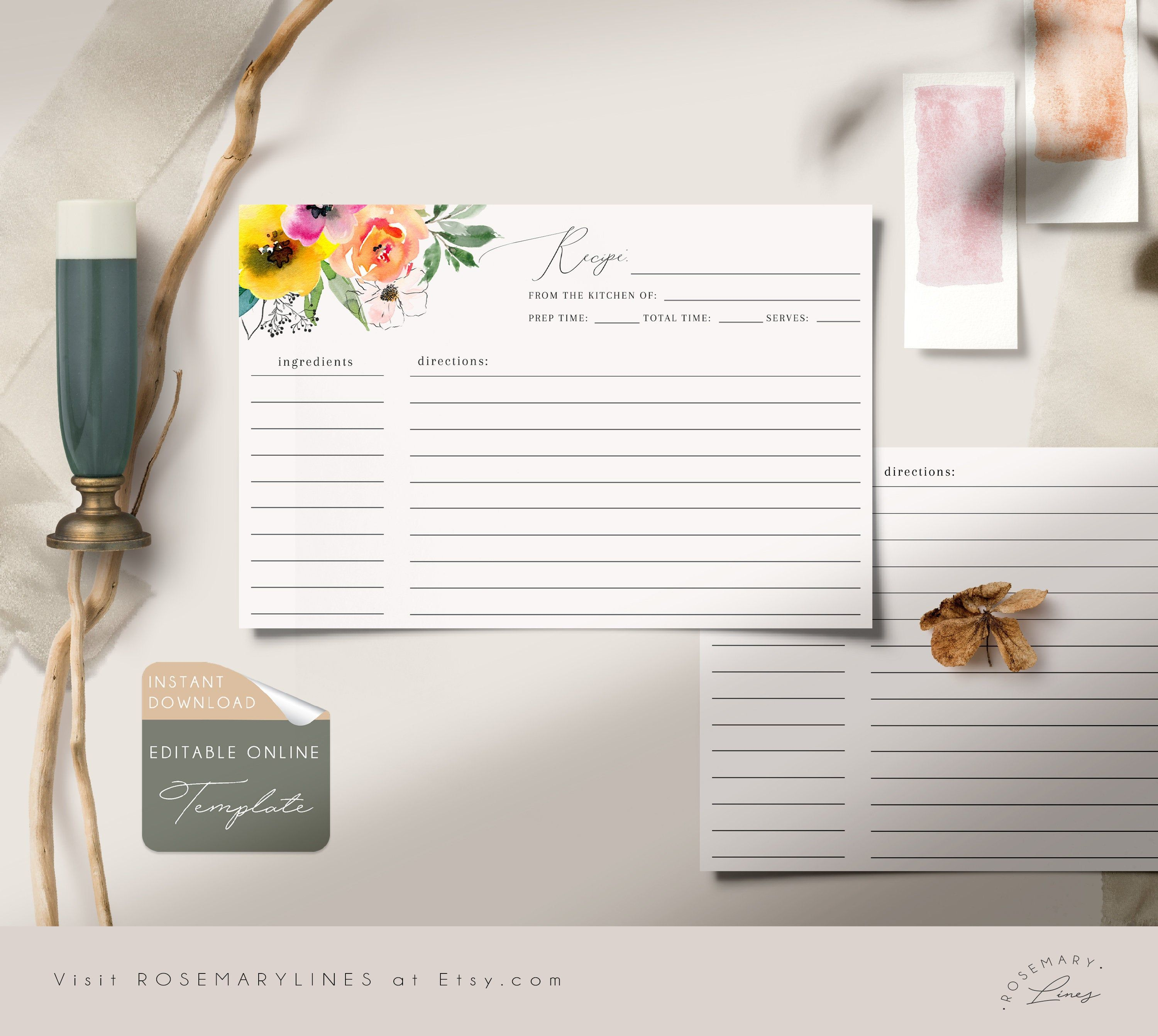 Editable Recipe Card Template Bright Floral Bridal Shower Recipe Cards Summer Or In 2020 Bridal Shower Recipes Cards Printable Bridal Shower Games Etsy Bridal Shower