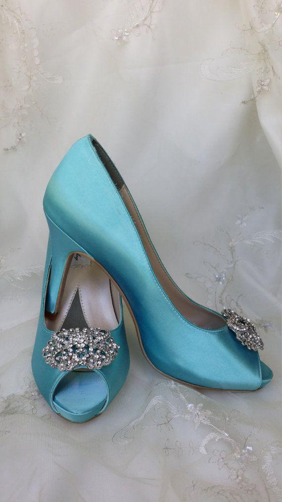 Wedding Shoes Bridal Shoes Aqua Blue Bridal Shoes by ABiddaBling ...