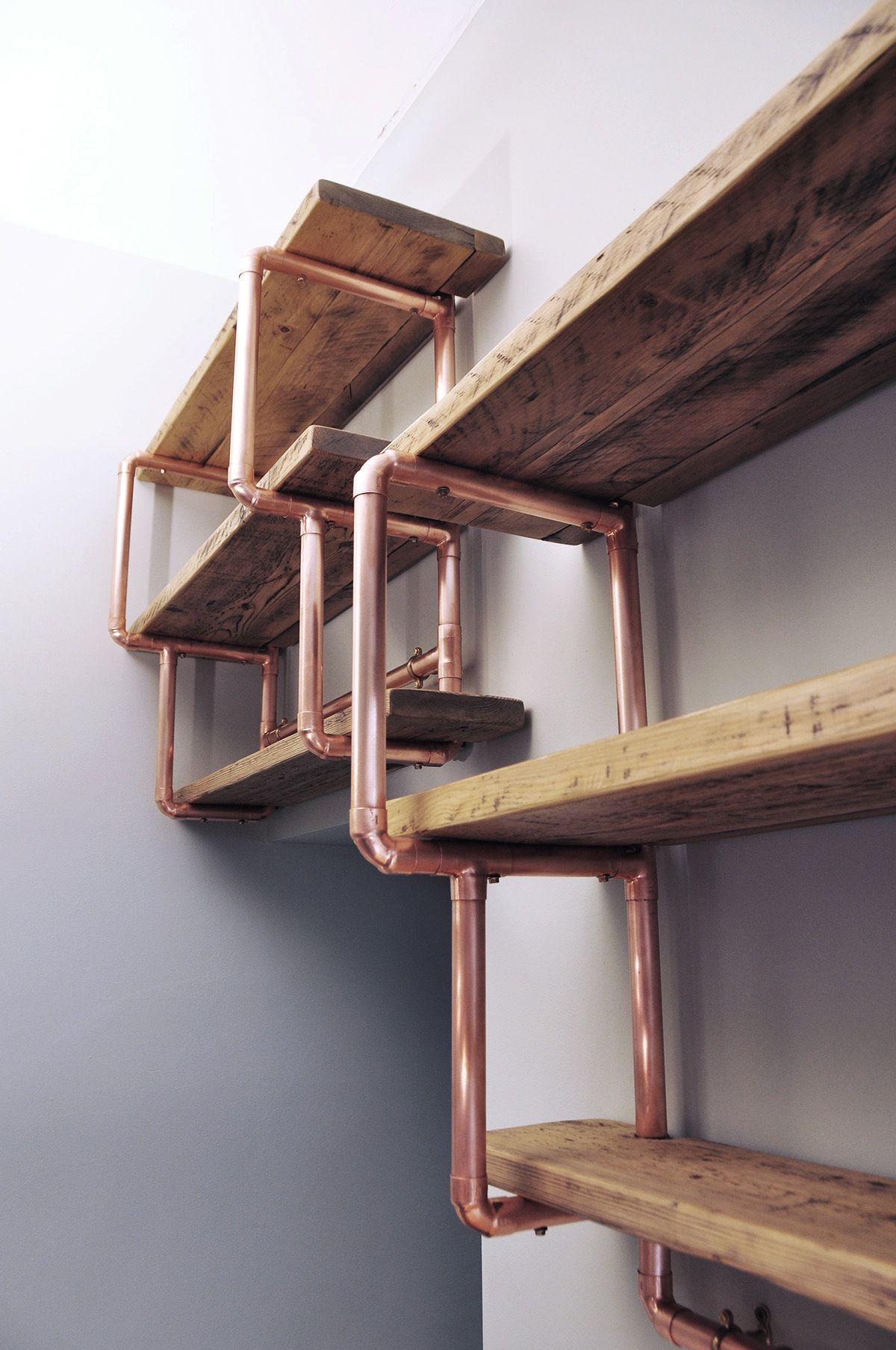 Copper Pipe Reclaimed Wood Shelving Office Space Filing