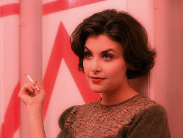 Oh Audrey - you're such a bad girl, smoking in the girls bathroom...