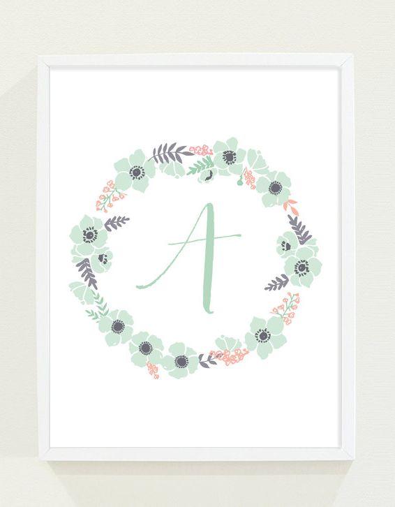 Personalized Monogram Floral Nursery Art in Mint