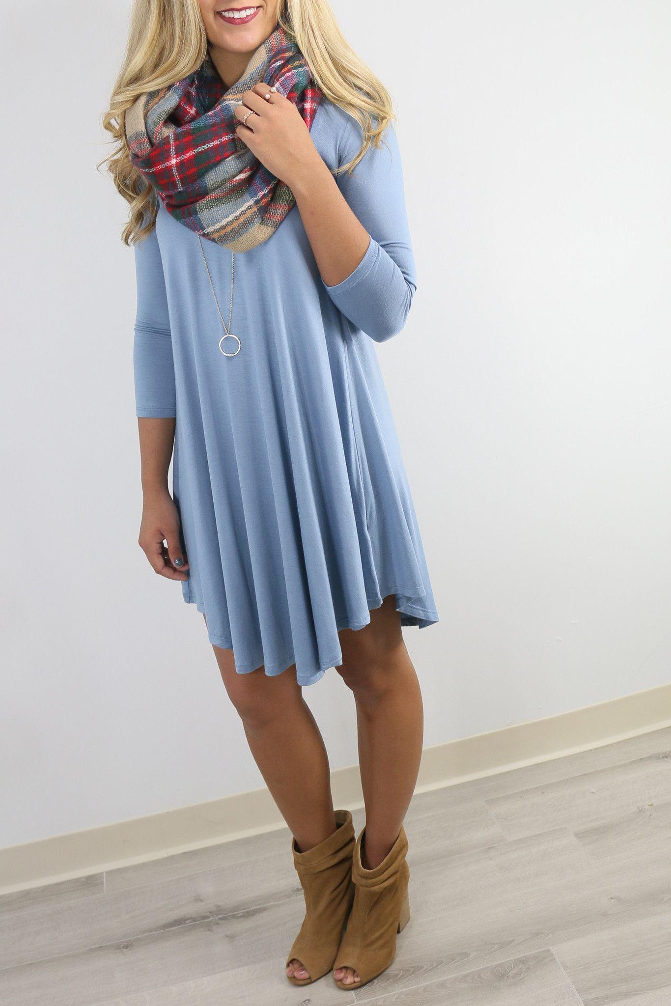 Never Let Go Slate Blue V-Neck Quarter Sleeve Dress | Quarter sleeve ...