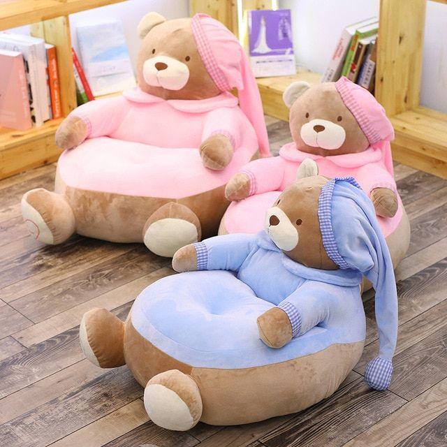 Photo of Cute Bear Sofa Plush Chair Baby Learn Sit Chair Children Cartoon Doll Feeding Ch…