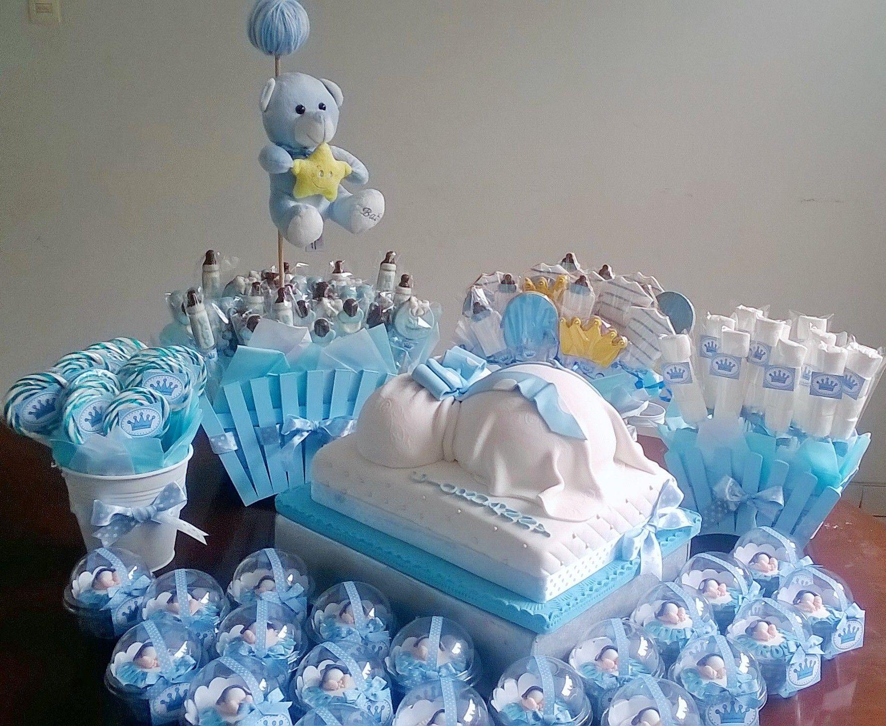 Mesa De Pastel Para Baby Shower.Torta Centro De Mesa Y Cupcakes De Baby Shower Galletas
