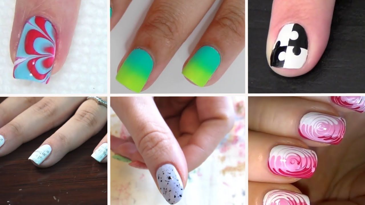 6 Super Easy Nail Art Designs At Home For Beginners Without Tools 2018 Youtube Simple Nail Art Designs Nail Art Diy Nail Art At Home