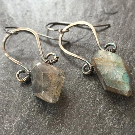 Chunky Faceted Labradorite Earrings Sterling Silver Drop Boho Tribal Goddess Gemstone Precious Stone Birthstone Jewelry