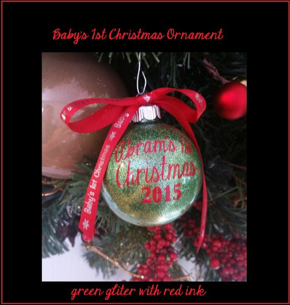 Babys First Christmas Ornament - Personalized Glitter Ornament for
