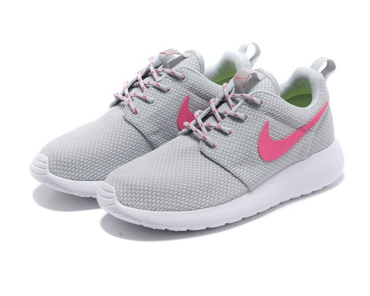 6ceaa0c301a9e Cheap Nike Roshe Run Light Grey Pink Women s Shoes - Click Image to Close
