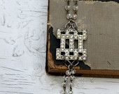 ON SALE....Vintage Rhinestone Buckle and Glass Bead Rosary Chain Bracelet.. Chatter 3
