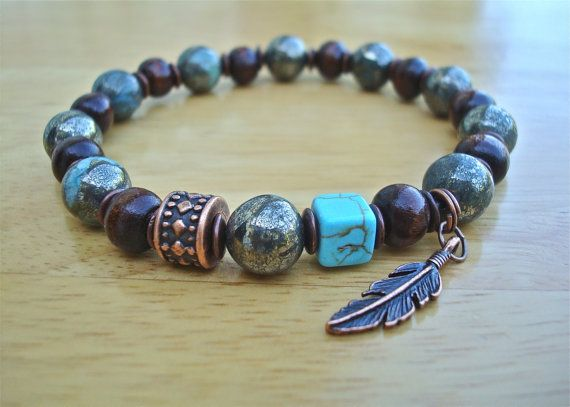 Men's Protection Luck Tribal Bracelet with Semi by tocijewelry