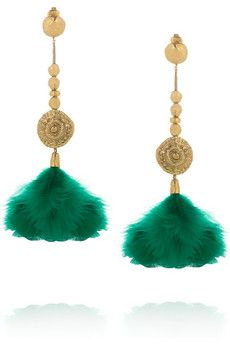 18-karat gold-plated feather clip earrings ..from Aurélie Bidermann