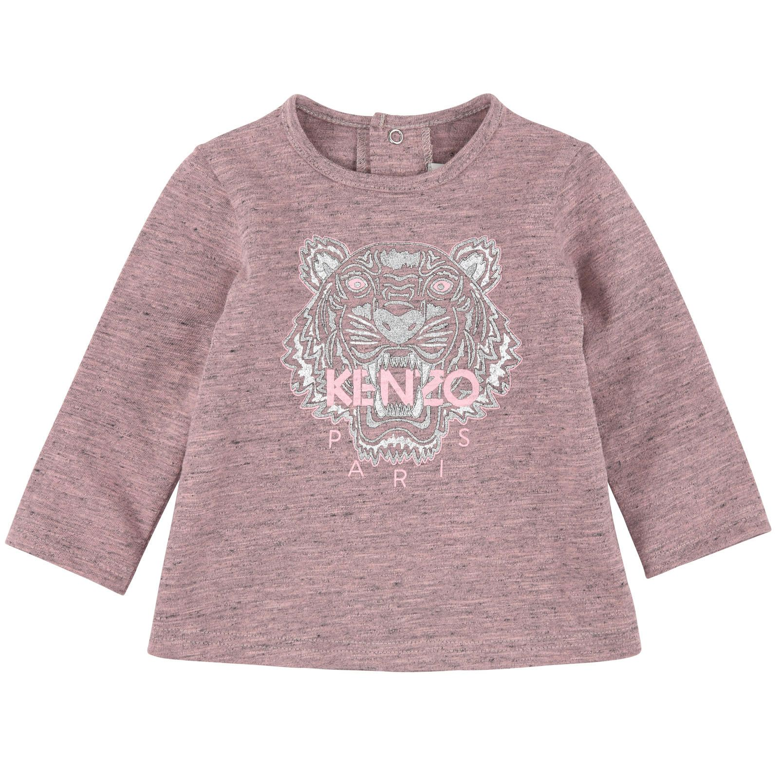 Kenzo long sleeved cotton jersey T shirt Round neck with three snap