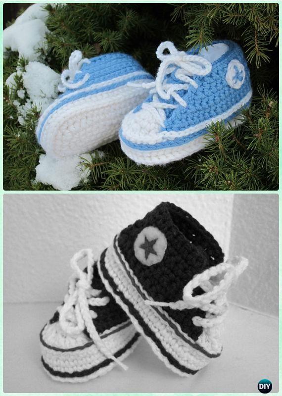 8e57f2299f6 Crochet Baby Converse Sneaker Booties Free Pattern - #Crochet Baby Booties  Slippers Free Pattern