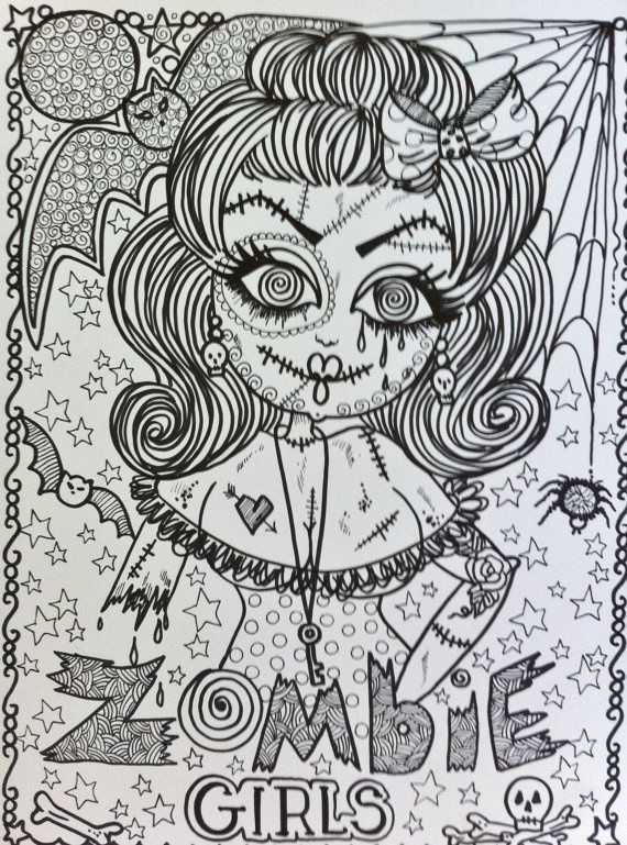 Spooky Zombie Coloring Pages