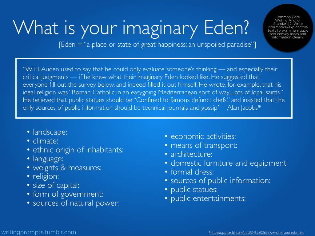 What I Your Imaginary Eden Prompt 539 Got A Remake Writing Creative Essays Essay