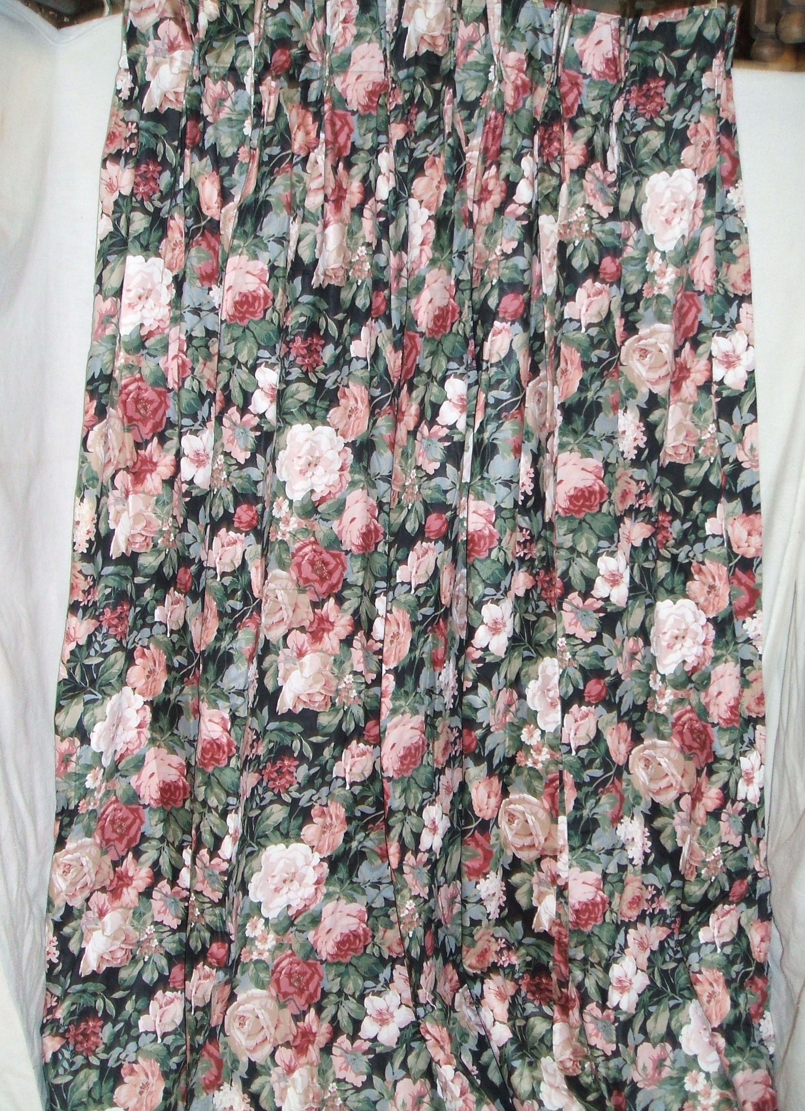 Pink and Black Floral Curtain (x4) -matching sashes