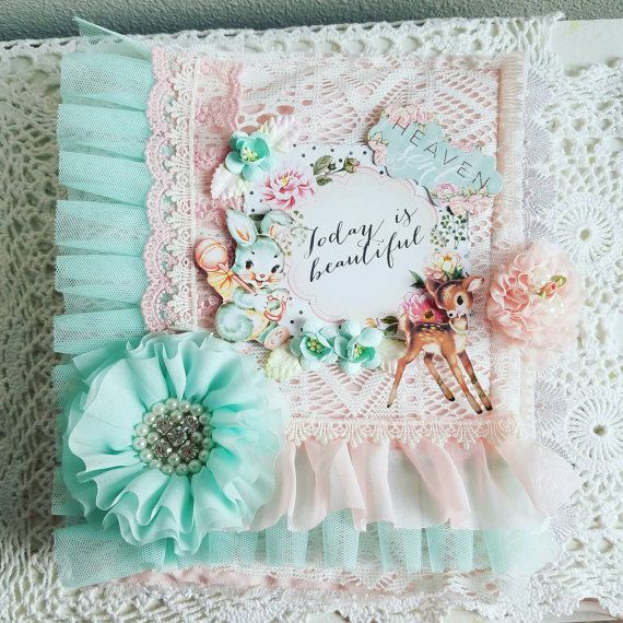Baby Album Shabby Chic Album Handmade Baby Book Pink And Teal