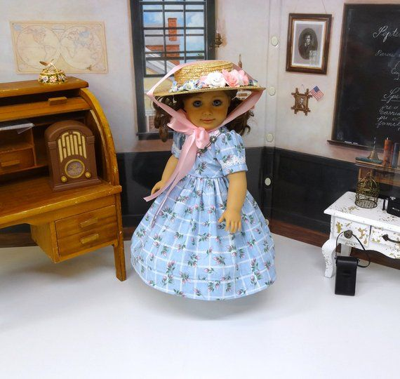 Victoria Park - Victorian dress for American Girl doll with hat, undergarments and boots #dollvictoriandressstyles