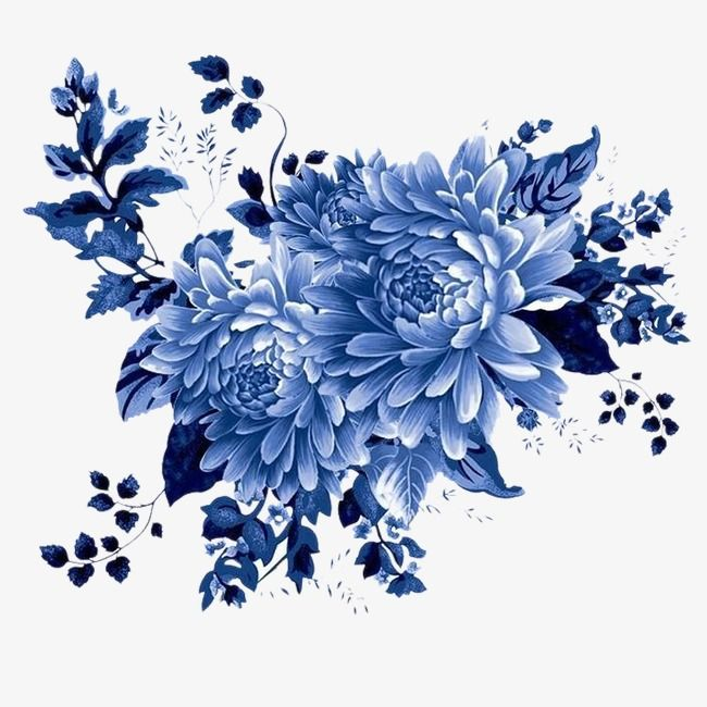 Blue And White Chrysanthemum Chinese Style Classical Bright Blue Flower Wallpaper Flower Painting Flower Art