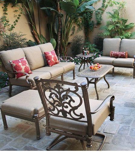 $3,800 Patio Furniture Deep Seating Set Cast Aluminum 6pc Santa Barbara  With Jockey Red Sunbrella Cushions