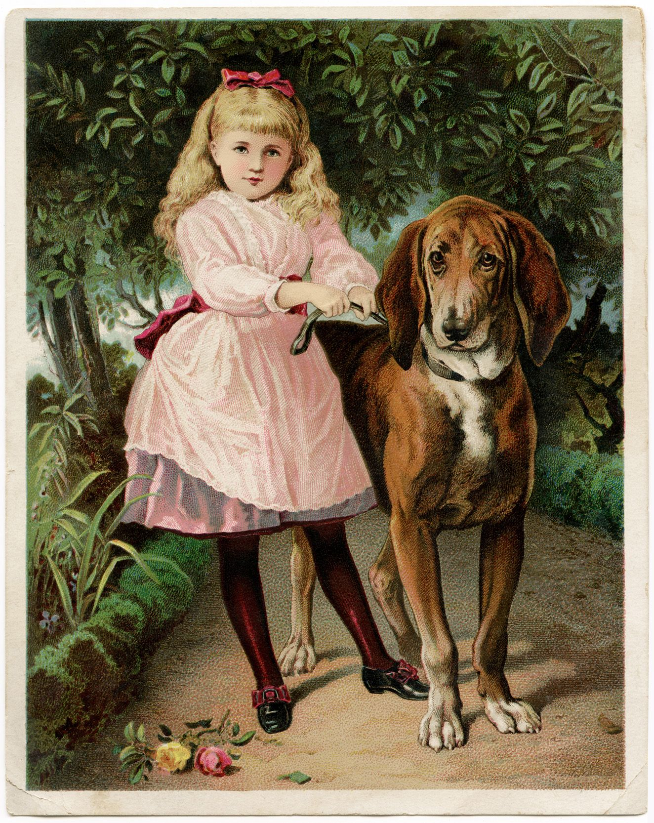 Victorian Trade Card He Won T Hurt You Girl And Dog Clip Art Vintage Victorian Scrap