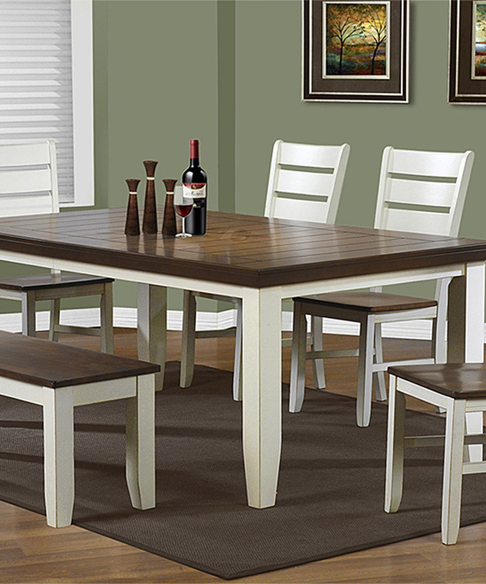 This Antique White & Oak Dining Table by Monarch Specialties is ...