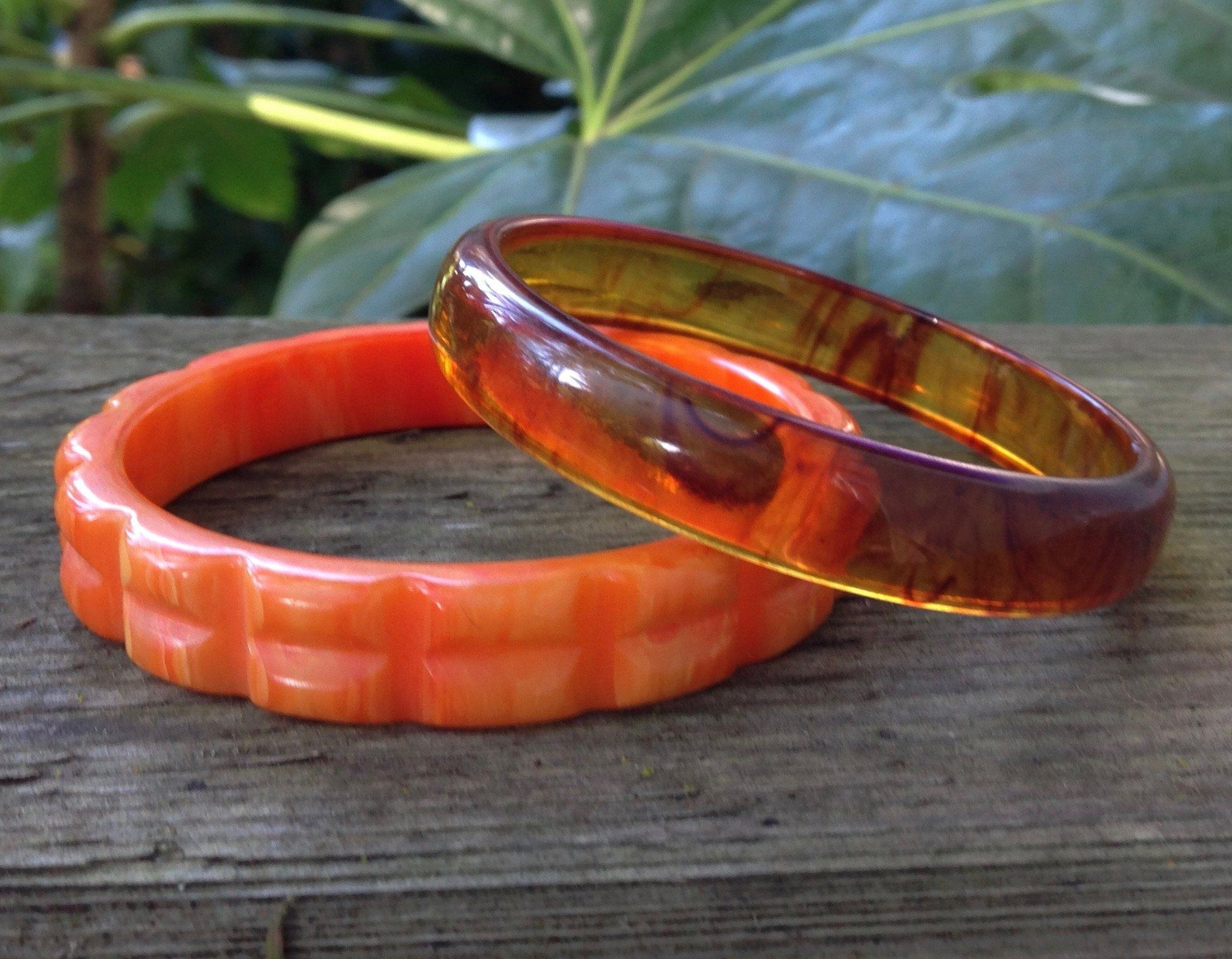 b007af34674bb Vintage Pair of Bakelite Bangle Bracelets, Swirled Tangerine & Apple ...