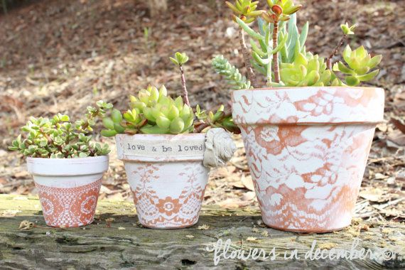 Vintage Inspired Lace Painted Flower Pot Rustic Home Decor 6 Inch Flowers In December Design Studio Paint Garden Pots Flower Pot Rustic Painted Flower Pots