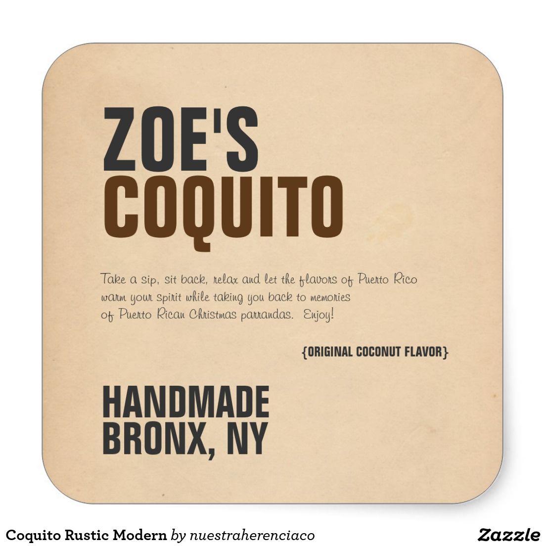 Personalized coquito rustic modern square stickers labels coquito de puerto rico etiquetas y stickers para botellas de coquito de puerto rico diseño