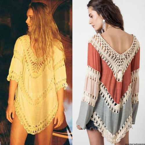 BOHO-HIPPIE-NEW-SUMMER-WOMEN-LADIES-FLORAL-Lace-DRESS-Party-Long-Tops-blouse