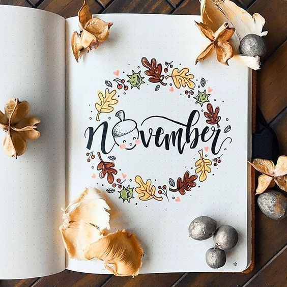 15 November Bullet Journal Cover And Layout Inspiration #novemberbulletjournalcover