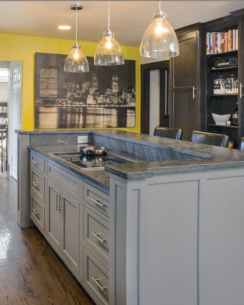 Grey Island With Decorative Brackets And Panels A Closer Look Kitchen Island Bar Kitchen Island With Cooktop Kitchen Island With Seating