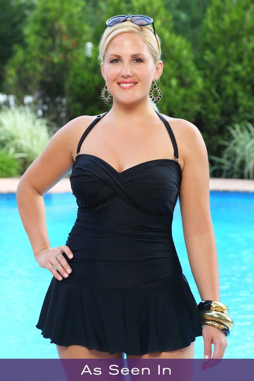 a7442a5b126 Always For Me Twist Front Bandeau Plus Size Swimsuit Black
