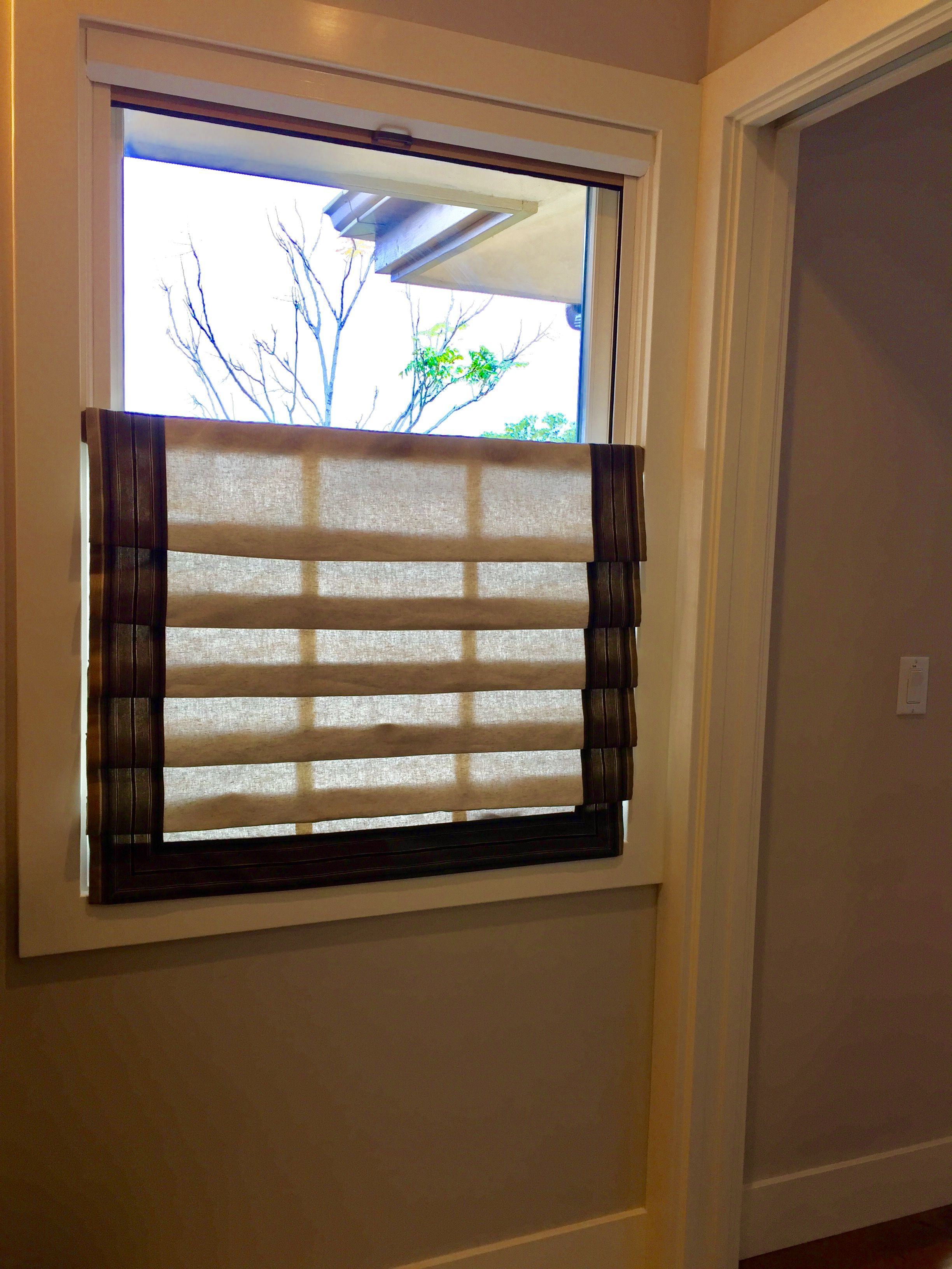 Bottom Mounted Roman Shade Covers Lower Half Of Window Window Coverings Windows Diy Window Treatments