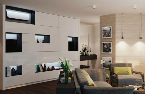prächtig modern Wohnzimmer Design weiß schrank couch