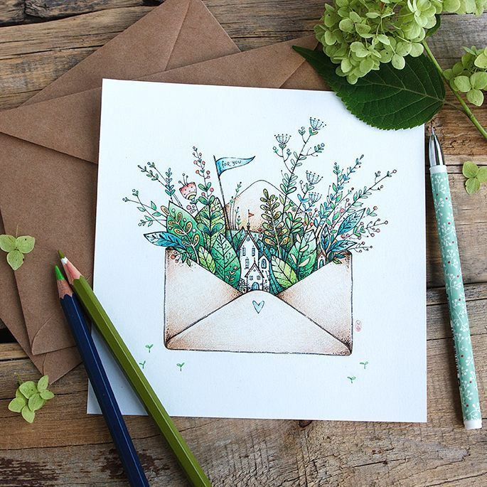 """Photo of Natasha Goncharova on Instagram: """""""" Summer in an envelope """", as @lotos_agg;) said #illustration # draw every day #graphic #drawing #artwork #illustrator #art_we_inspire # summer …"""""""