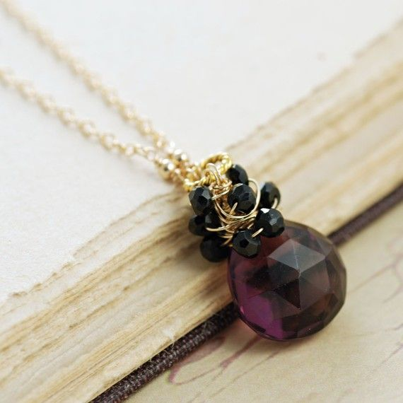 Purple Black Gemstone Pendant Necklace in 14k Gold by aubepine