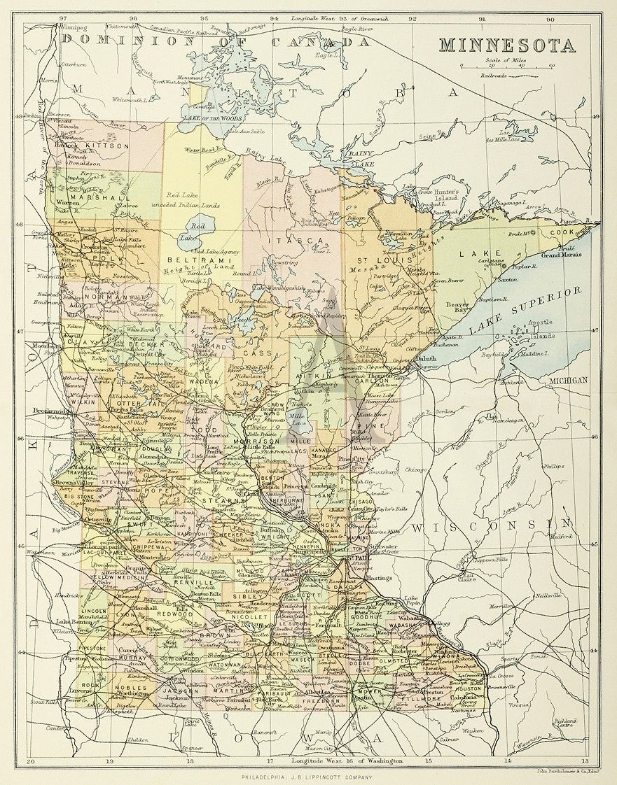 Minnesota | Maps of United States & North America | Map, Antique ...