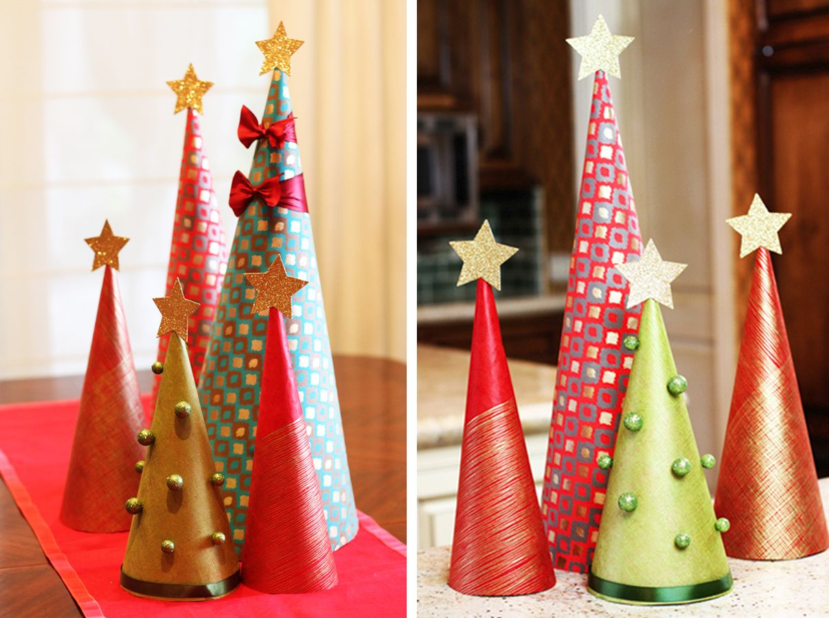 Paper Christmas Tree Ornaments Homemade Holiday Table Decorations Decorated Tree View