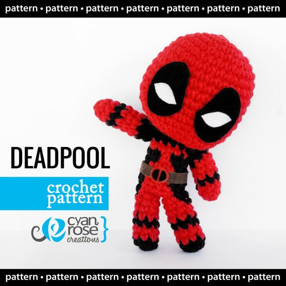 Deadpool Crochet Pattern - Instant Download - Amigurumi Plush Doll ...
