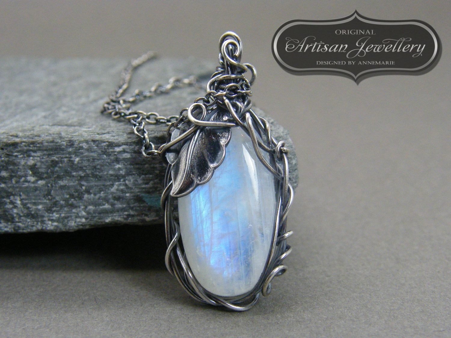 Sterling silver magical moonstone wire wrapped fairytale pendant sterling silver magical moonstone wire wrapped fairytale pendant with silver leaf handcrafted nature inspired artisan mozeypictures Images