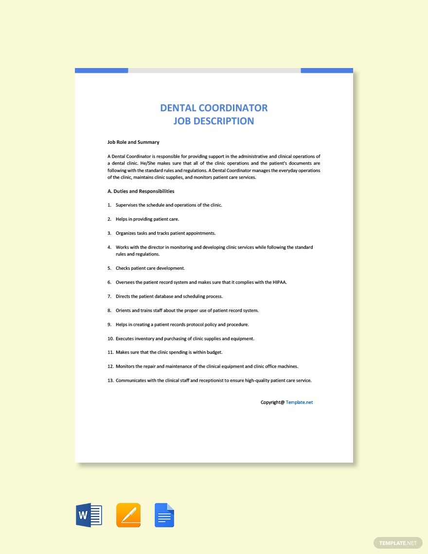 Free Dental Coordinator Job Description Template in 2020