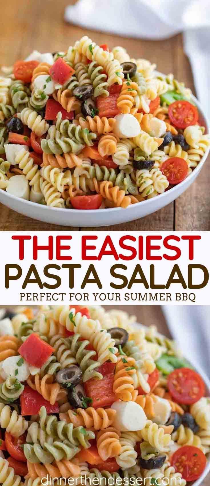 Einfacher Nudelsalat mit Mozzarella, schwarzen Oliven, Kirschtomaten und ...   - AA KOCHEN -