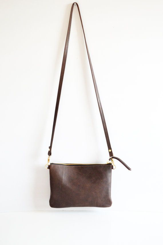 82ca8a9da Minimalist leather crossbody bag in Dark Brown *** This bag is hand made to  order - please see my shop