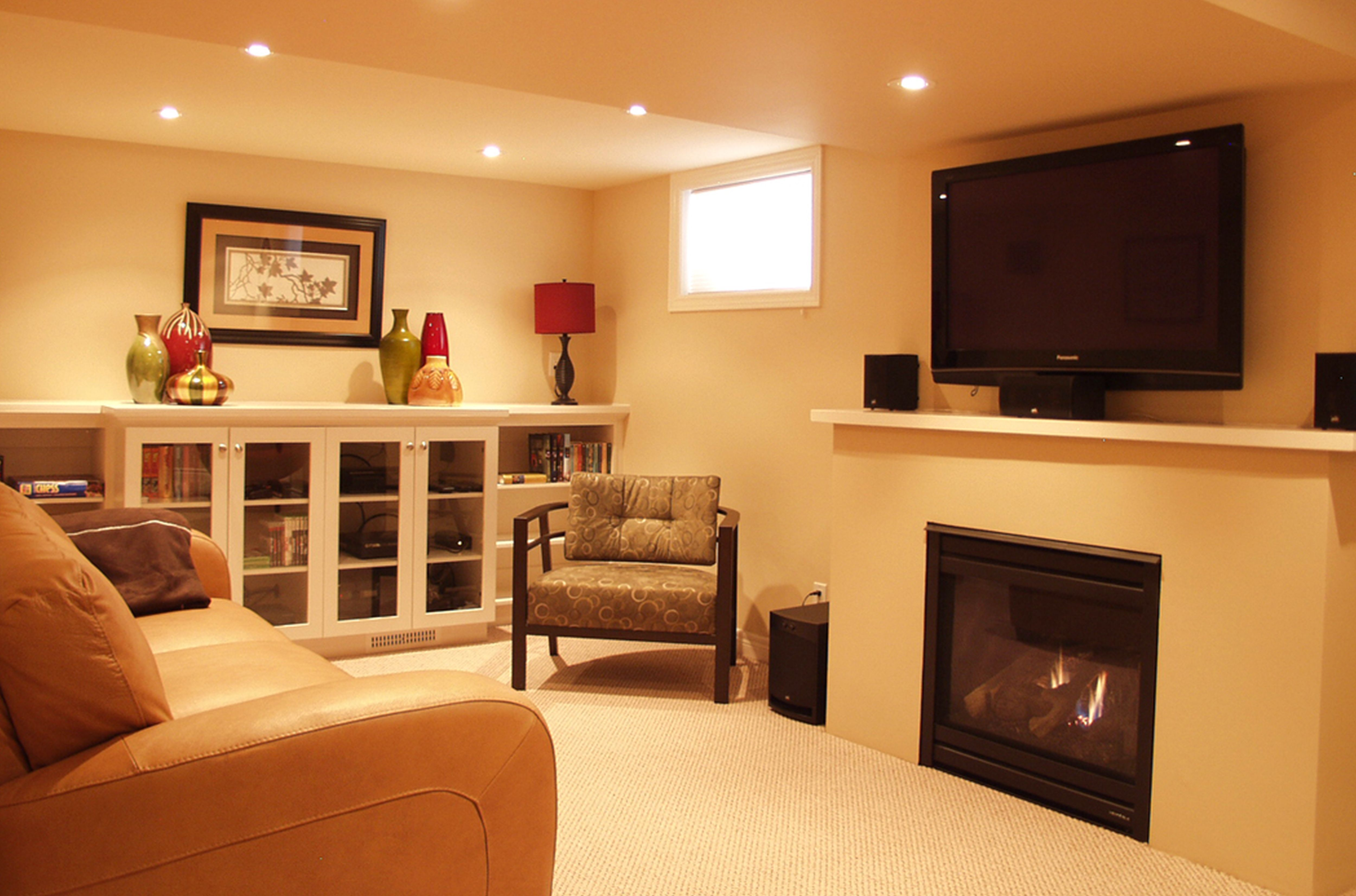 copper room design ideas  Warm Wall Colors Creating A Serene Basement Family Room Design Ideas