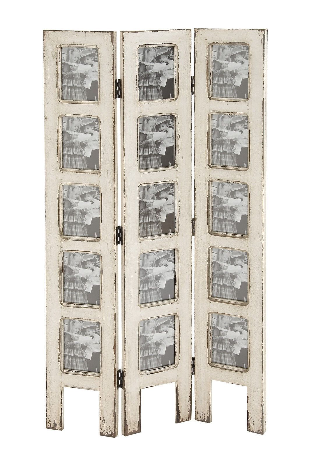 Shabby White Wash Distressed 15 Picture Photo Frame Privacy Screen ...