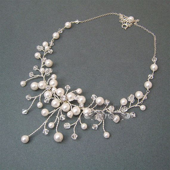 Vine Bridal Necklace Pearls Wedding Necklace Wire by adriajewelry